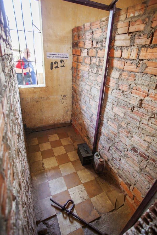 Célula en el museo de Tuol Sleng Genoside, Phnom Penh, Camboya imágenes de archivo libres de regalías