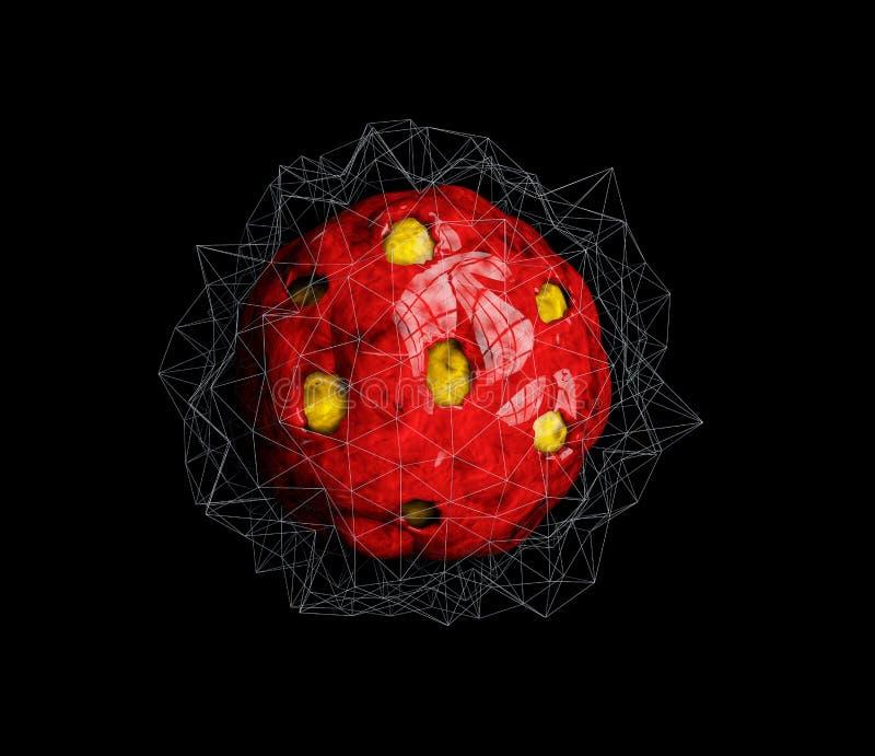 Célula encapsulada en el organismo humano, del virus ejemplo 3d de la célula del virus libre illustration