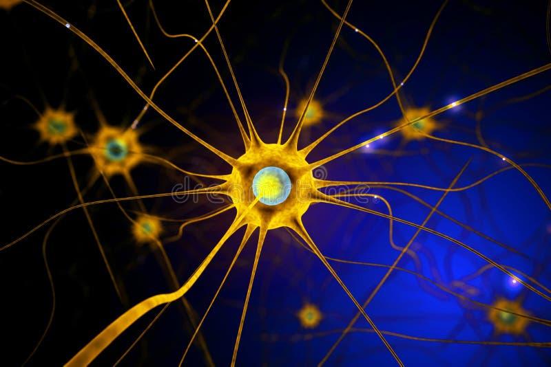 Célula nerviosa amarilla stock de ilustración. Ilustración de ...