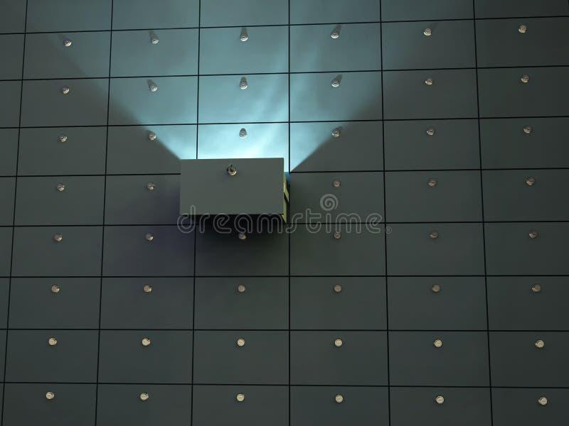 Célula que brilla intensamente en rectángulo de depósito de seguridad stock de ilustración
