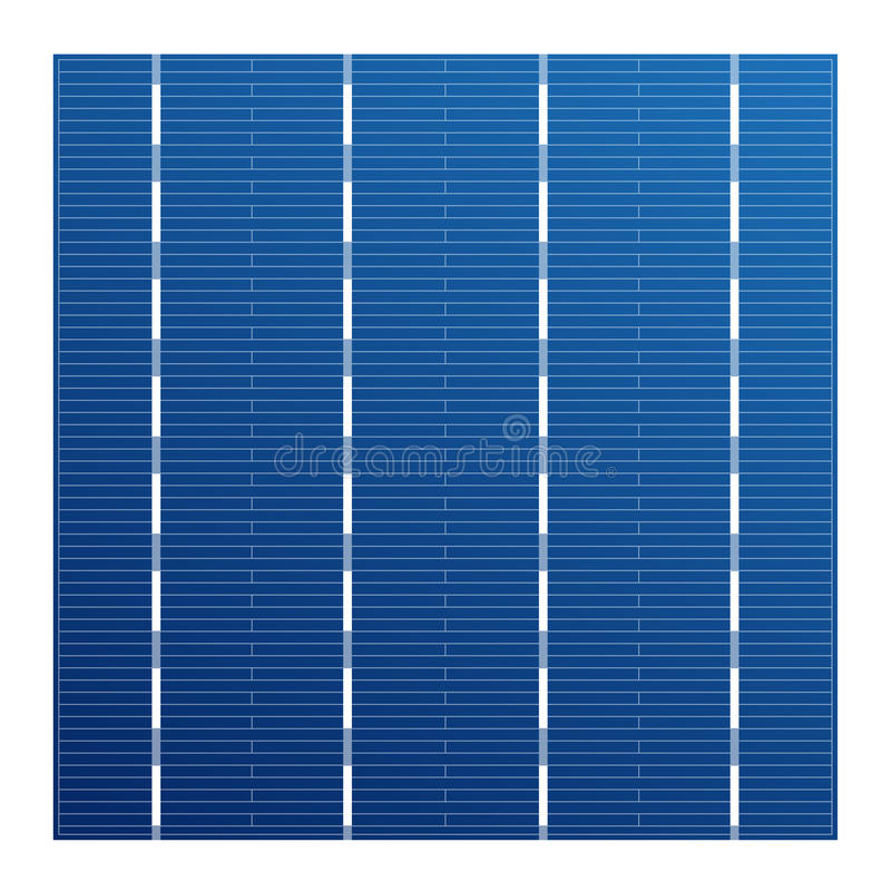 Célula solar monocristalina para los módulos solares Elemento de sistema fotovoltaico del vector Elemento eléctrico para la bater ilustración del vector