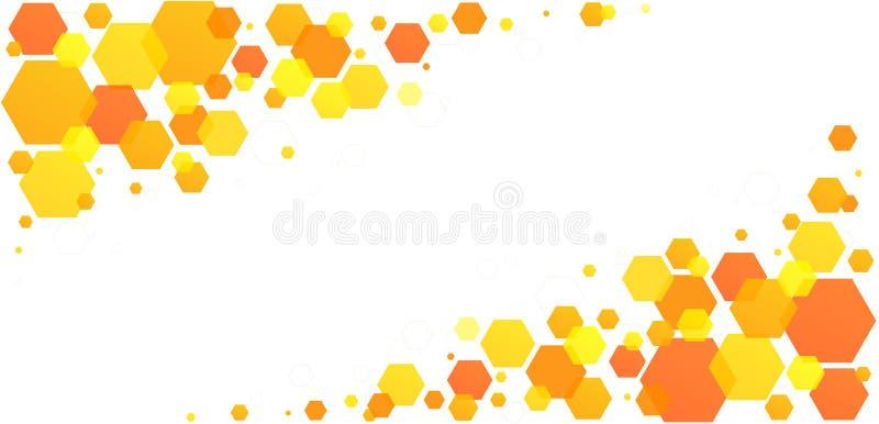 Células de abejas hexagonales de abeja de abeja de abeja Patrón geométrico abstracto amarillo-anaranjado de las células de colmen libre illustration