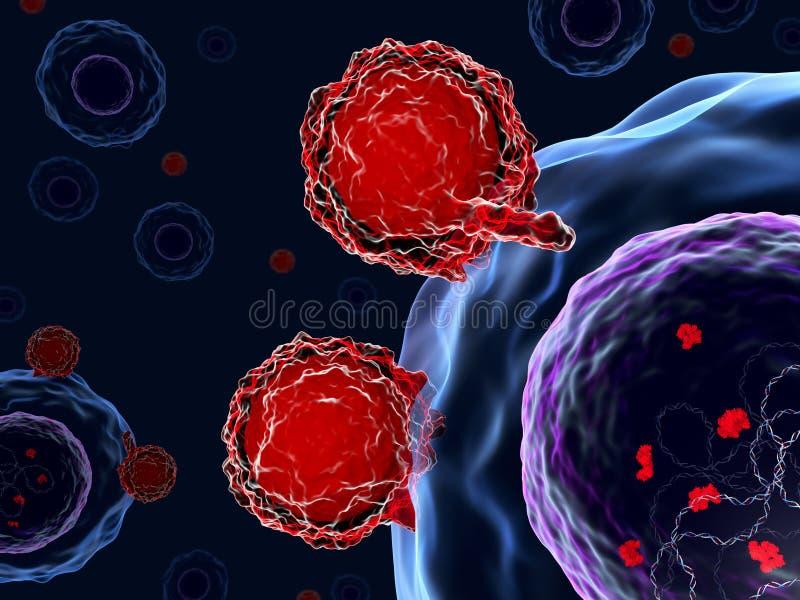 Células de T que atacan las células humanas con el sistema CRISPR-Cas9 libre illustration