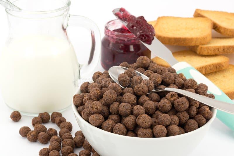 Céréale de lait et de chocolat image stock