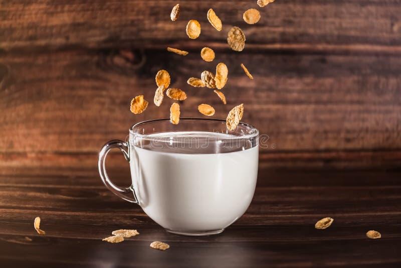 Céréales dans la tasse de lait photographie stock