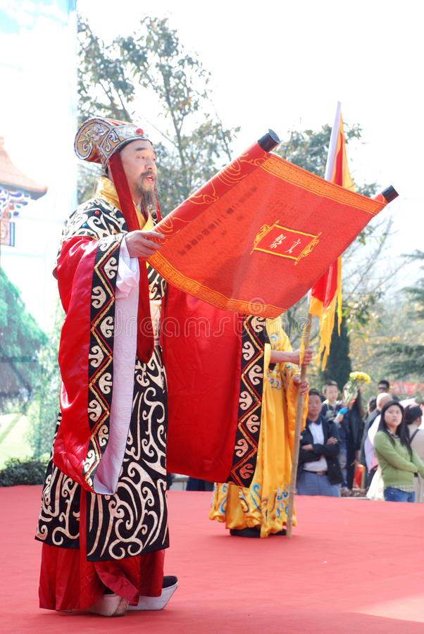 Cérémonie chinoise de mémorial public de festival de Qingming image stock