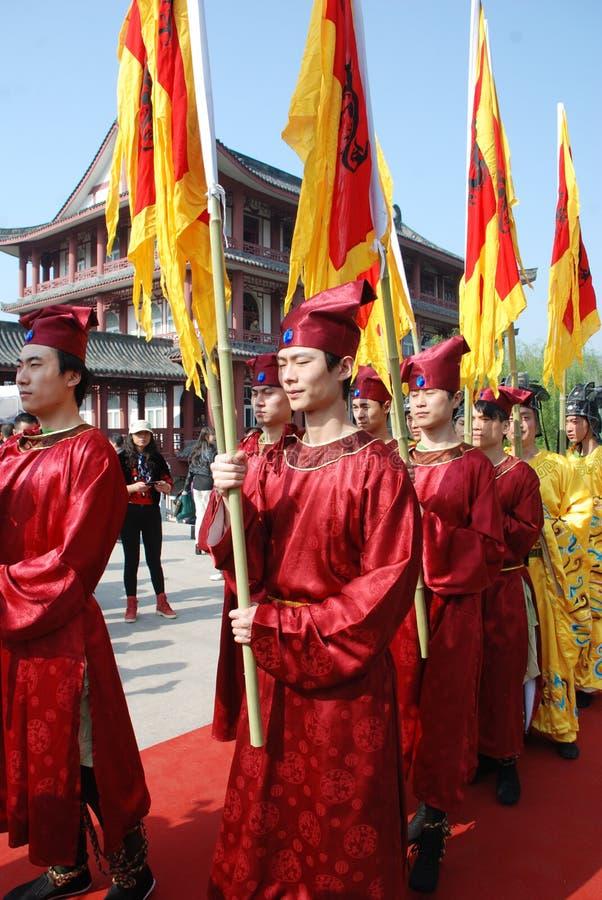 Cérémonie chinoise de mémorial public de festival de Qingming images libres de droits