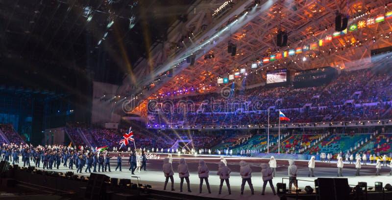 Cérémonie d'ouverture de Jeux Olympiques de Sotchi 2014 images libres de droits