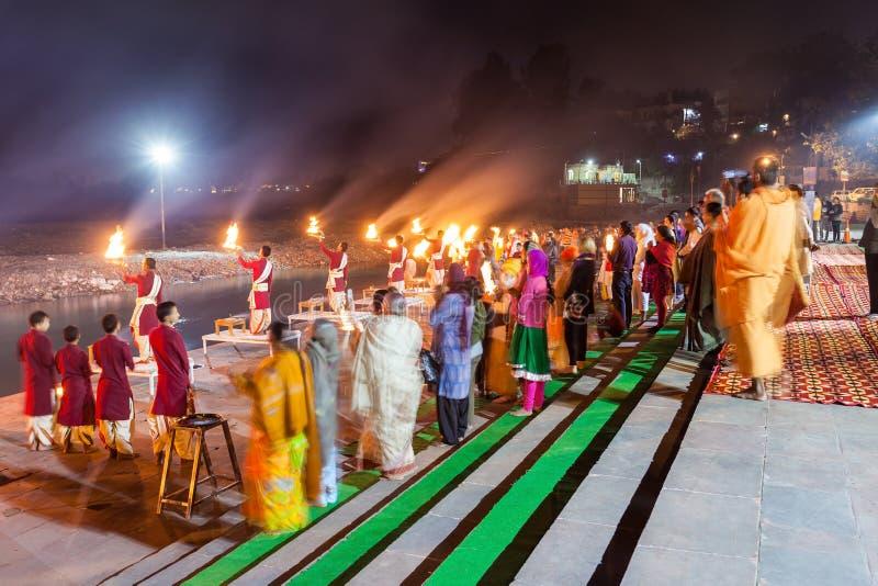 Cérémonie de Ganga Aarti images stock