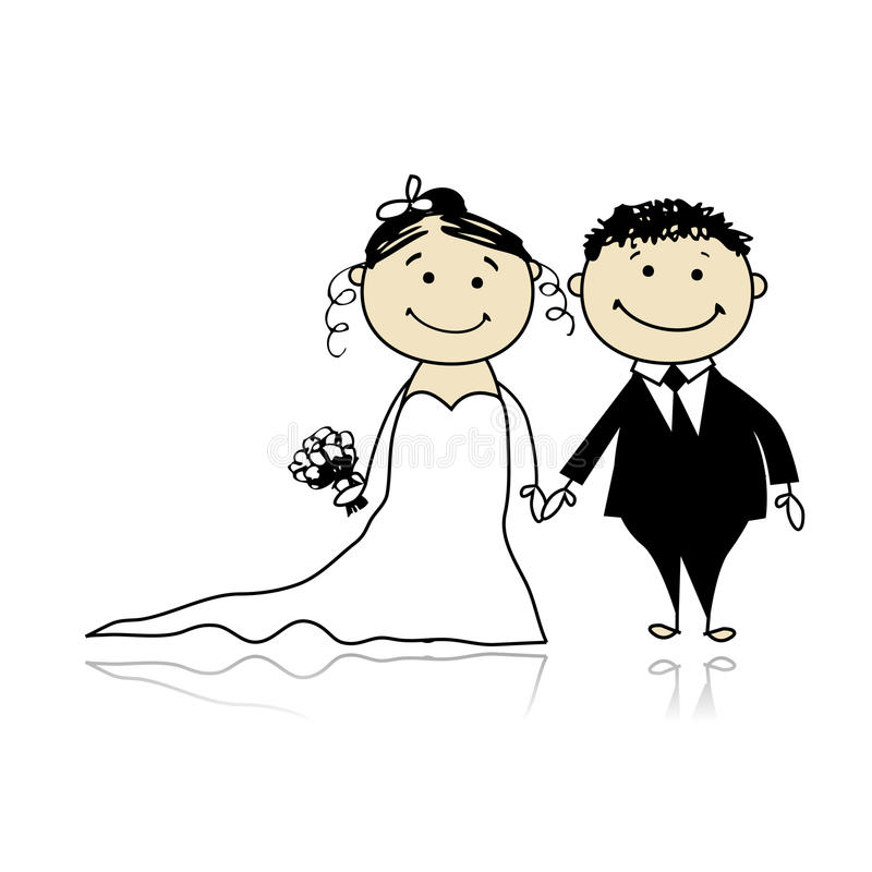 Cérémonie de mariage - mariée et marié ensemble illustration stock