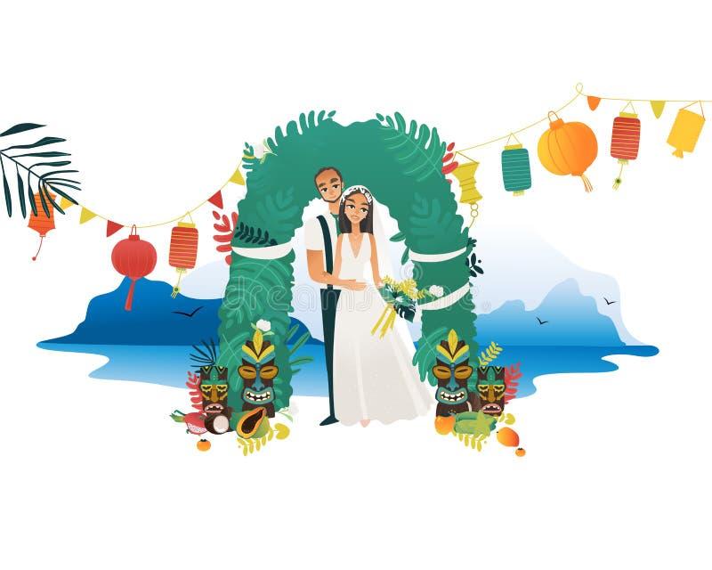 Cérémonie de mariage sur la côte d'Hawaï - jeunes jeunes mariés obtenant mariés à la plage illustration libre de droits