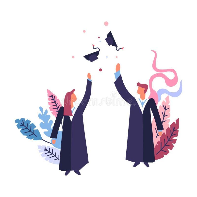 Cérémonie des étudiants portant des manteaux jetant des chapeaux illustration de vecteur