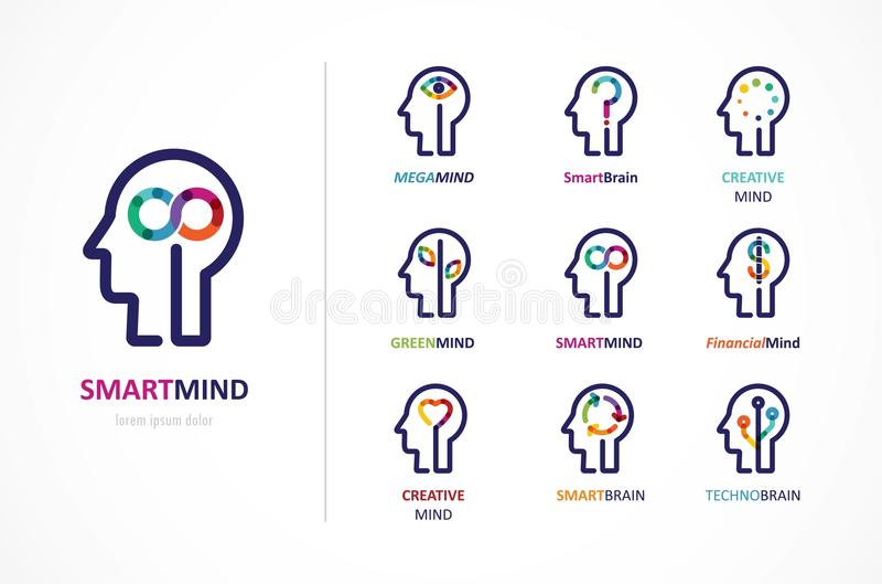 Cérebro, ícone criativo da mente, da aprendizagem e do projeto Cabeça do homem, símbolo dos povos ilustração stock