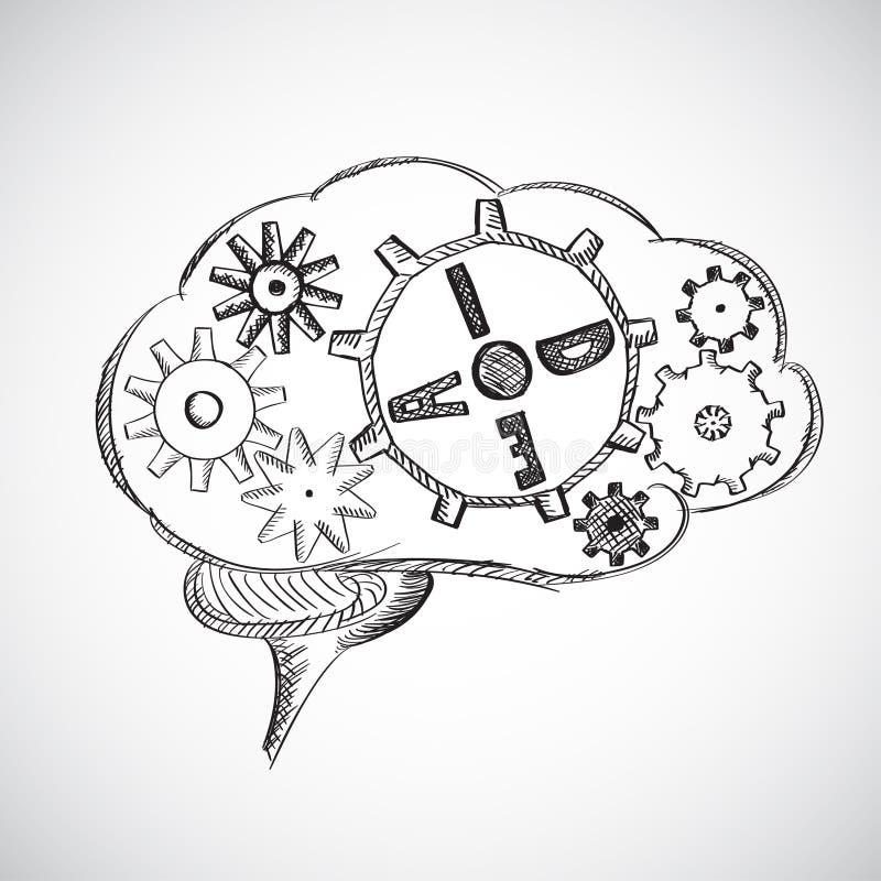 Cérebro abstrato do fundo do esboço. ilustração royalty free