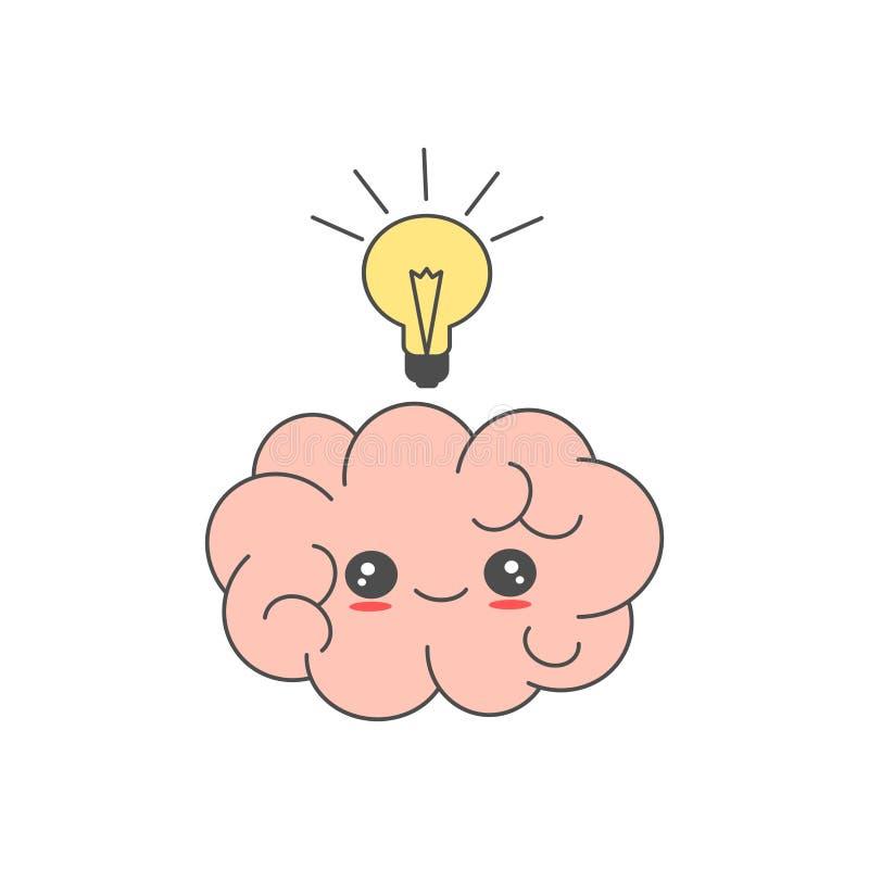 Cérebro bonito dos desenhos animados com ilustração engraçada do conceito do vetor da ideia ilustração stock