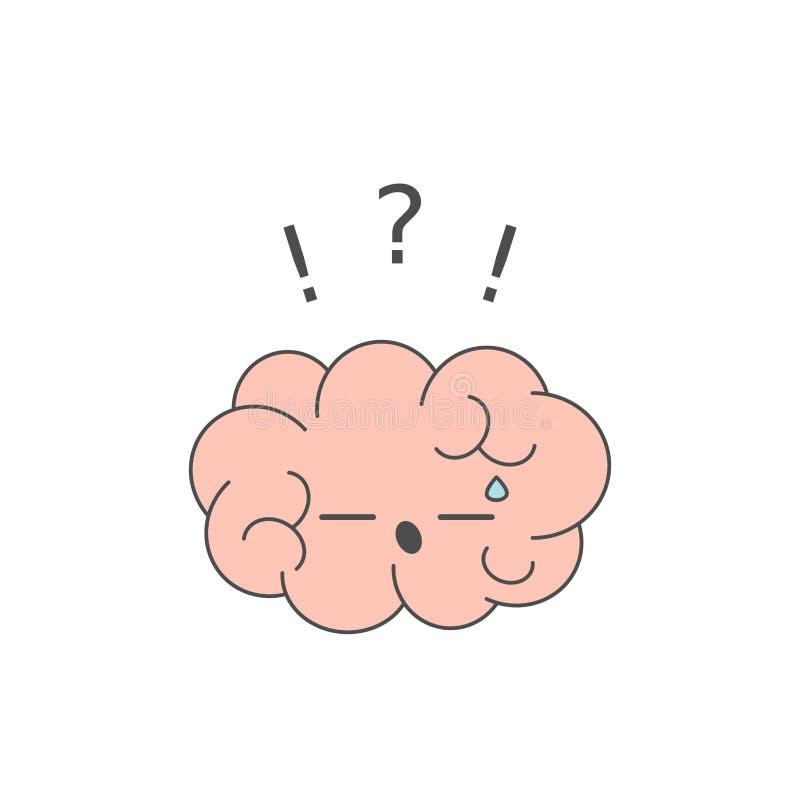 Cérebro bonito dos desenhos animados com ilustração engraçada do conceito do vetor da pergunta ilustração do vetor