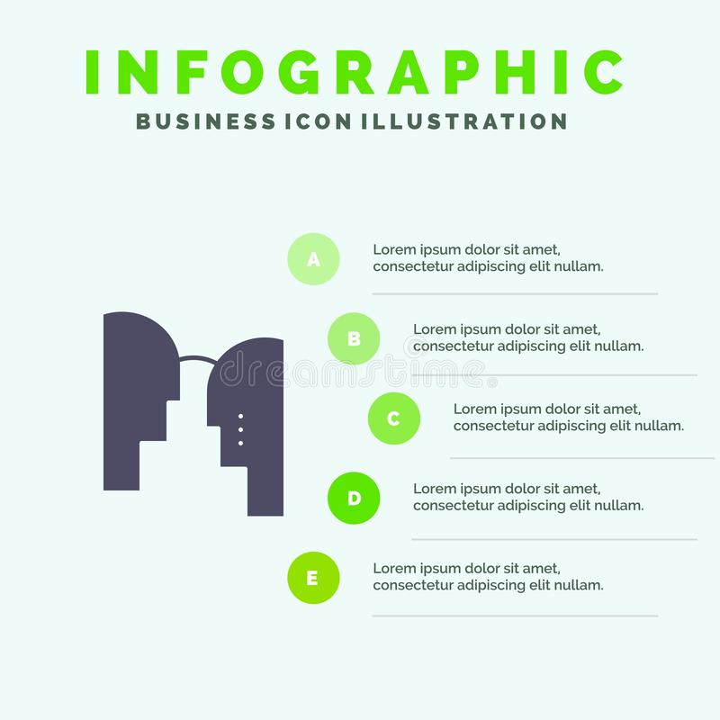 Cérebro, cabeça, mente, fundo contínuo da apresentação das etapas de Infographics 5 do ícone de transferência ilustração royalty free