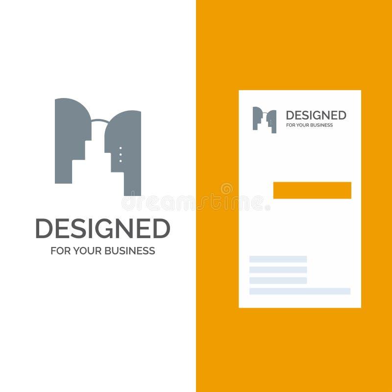 Cérebro, cabeça, mente, transferência Grey Logo Design e molde do cartão ilustração do vetor
