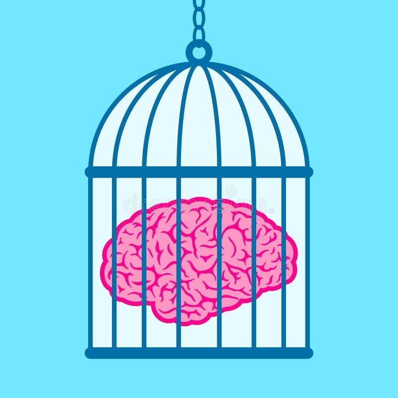 Cérebro capturado no birdcage ilustração do vetor
