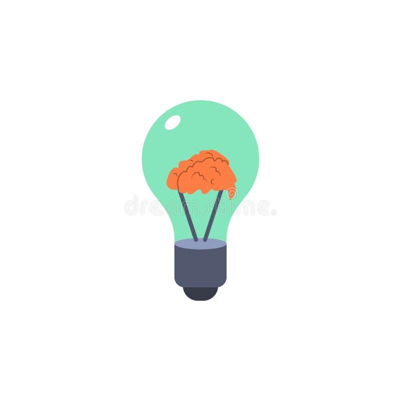 cérebro colorido dentro do ícone do bulbo Elemento da ciência e do laboratório para apps móveis do conceito e da Web Cérebro deta ilustração royalty free