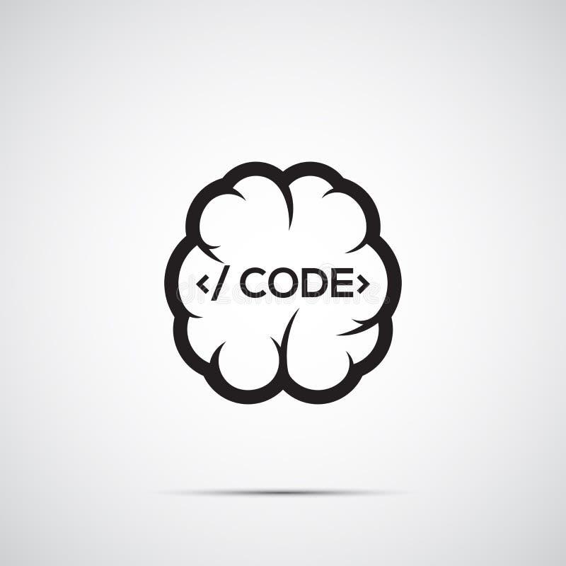 Cérebro com código ilustração stock