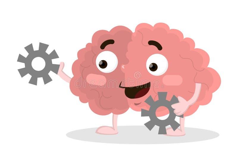 Cérebro com engrenagens ilustração do vetor