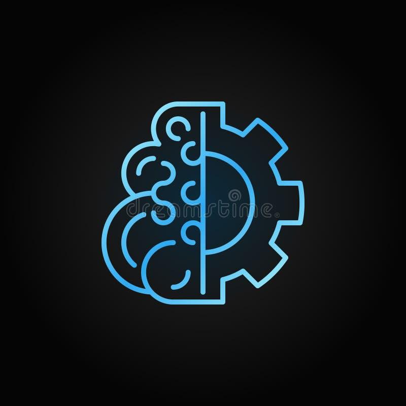 Cérebro com linha azul ícone do conceito do vetor da engrenagem ou elemento do logotipo ilustração stock
