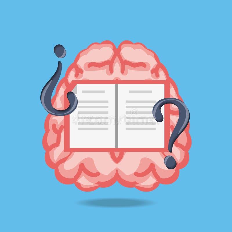 cérebro com livro e símbolos das perguntas ilustração royalty free