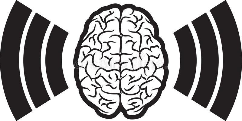 Cérebro com onda ilustração stock