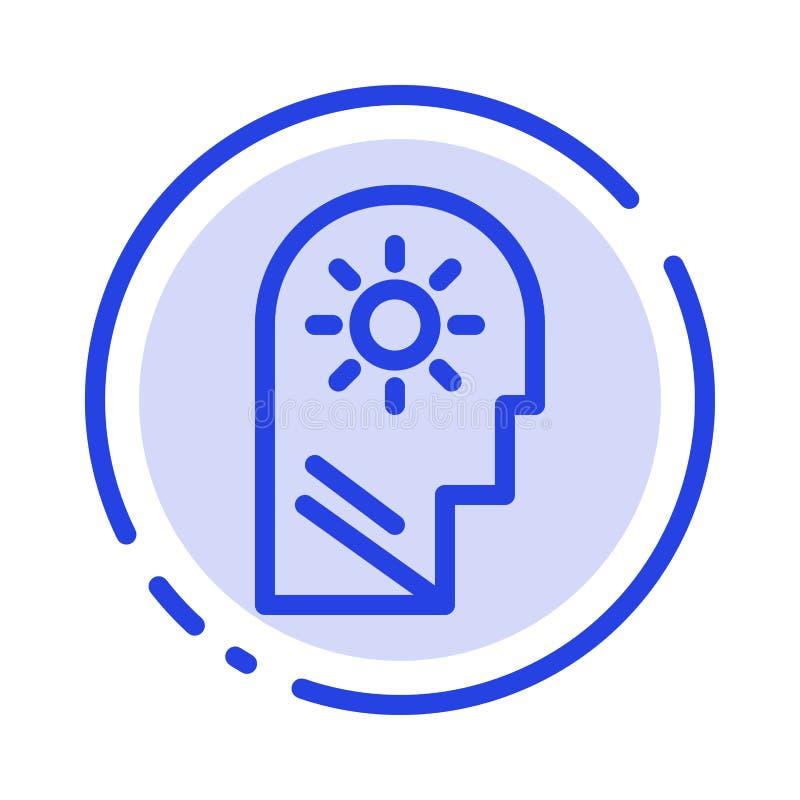 Cérebro, controle, mente, ajustando a linha pontilhada azul linha ícone ilustração stock