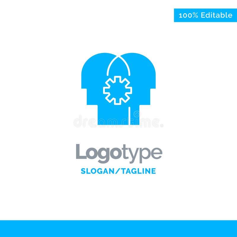 Cérebro, controle, mente, ajustando Logo Template contínuo azul Lugar para o Tagline ilustração stock