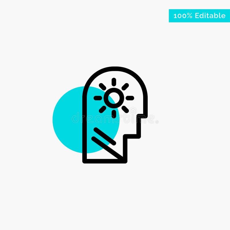 Cérebro, controle, mente, ajustando o ícone do vetor do ponto do círculo do destaque de turquesa ilustração royalty free
