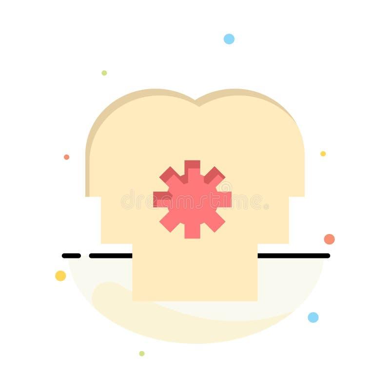 Cérebro, controle, mente, ajustando o molde liso abstrato do ícone da cor ilustração royalty free
