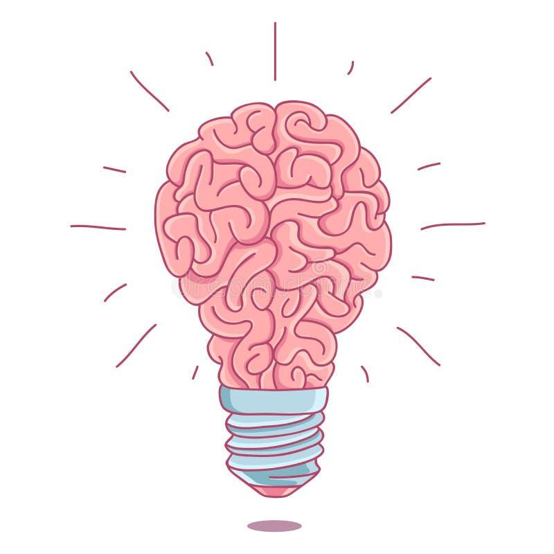 Cérebro cor-de-rosa sob a forma de uma ampola ardente ilustração royalty free