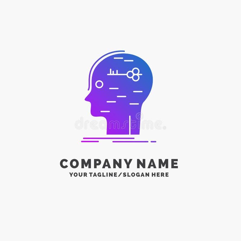 cérebro, corte, corte, chave, negócio roxo Logo Template da mente Lugar para o Tagline ilustração royalty free