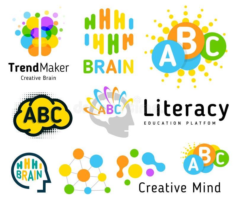 Cérebro creativo Escola do gênio Desenvolvimento humano Habilidade acima Grupo linear do logotipo do vetor ilustração royalty free