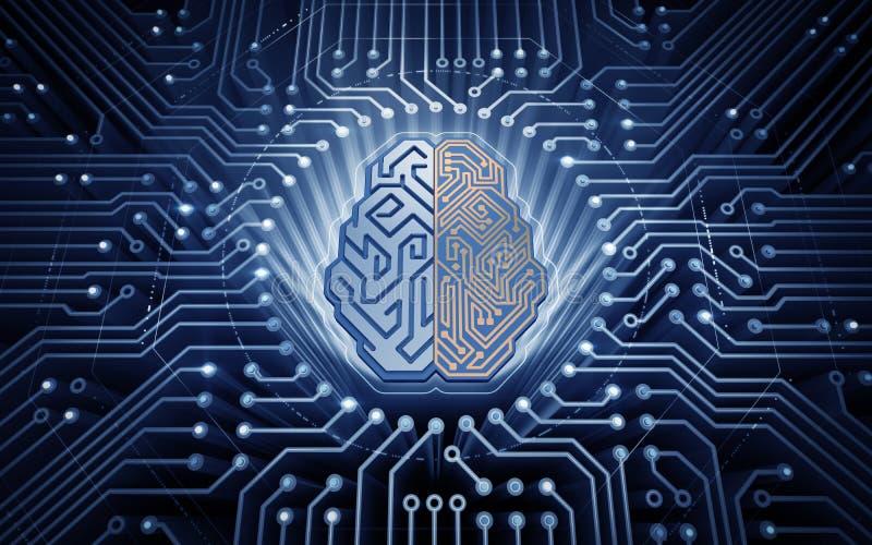 Cérebro Cybernetic ilustração do vetor