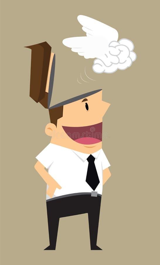 Cérebro da descarga do homem de negócios ilustração do vetor