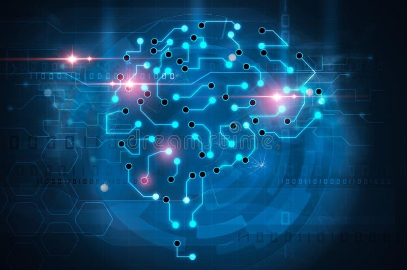 Cérebro da inteligência artificial ilustração do vetor