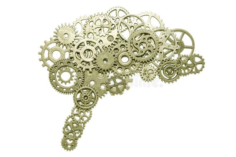 Cérebro das engrenagens em um fundo branco montado dos detalhes do enigma imagem de stock royalty free