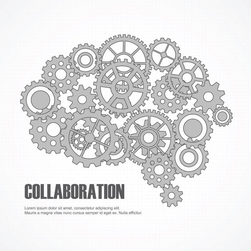 Cérebro das engrenagens para a cooperação ou os trabalhos de equipa ilustração royalty free