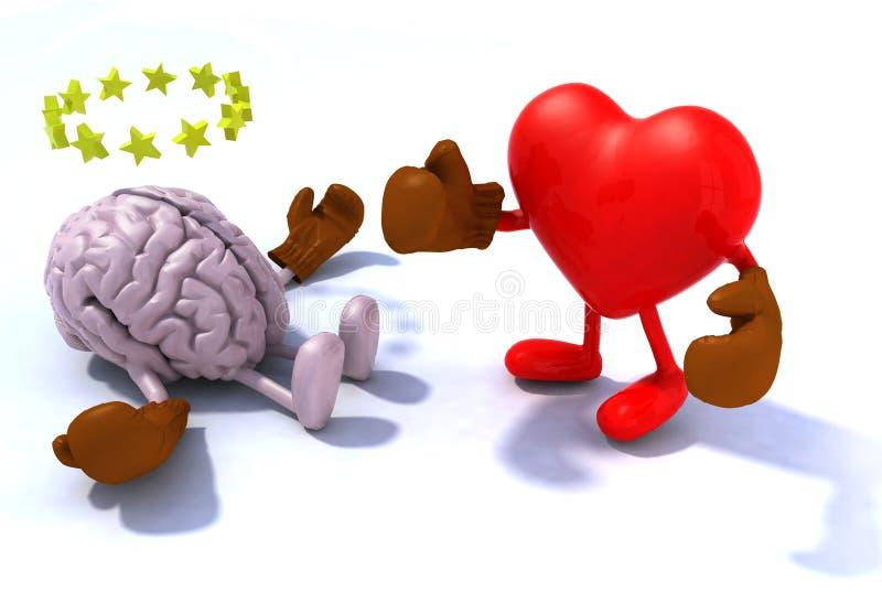 Cérebro de combate do coração ilustração do vetor