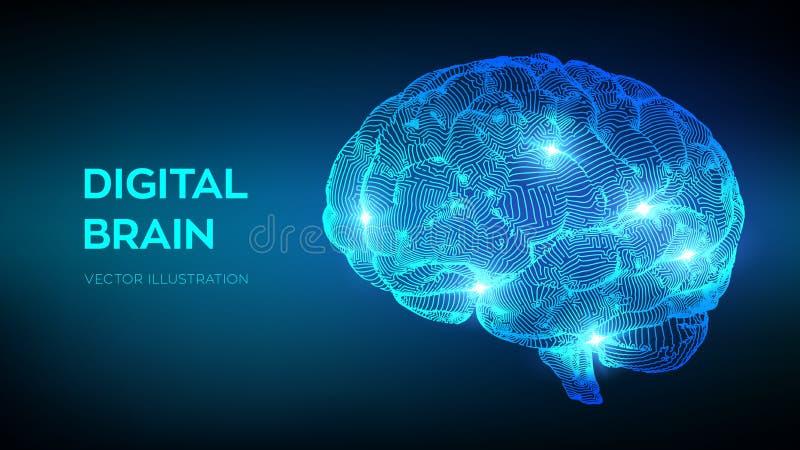 cérebro Cérebro de Digitas conceito da ciência 3D e da tecnologia Rede Neural Testes do Q.I., emulation virtual da inteligência a ilustração do vetor