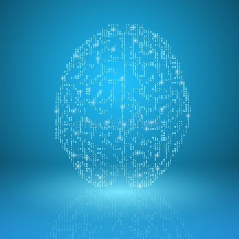 Cérebro de Digitas no fundo azul ilustração royalty free
