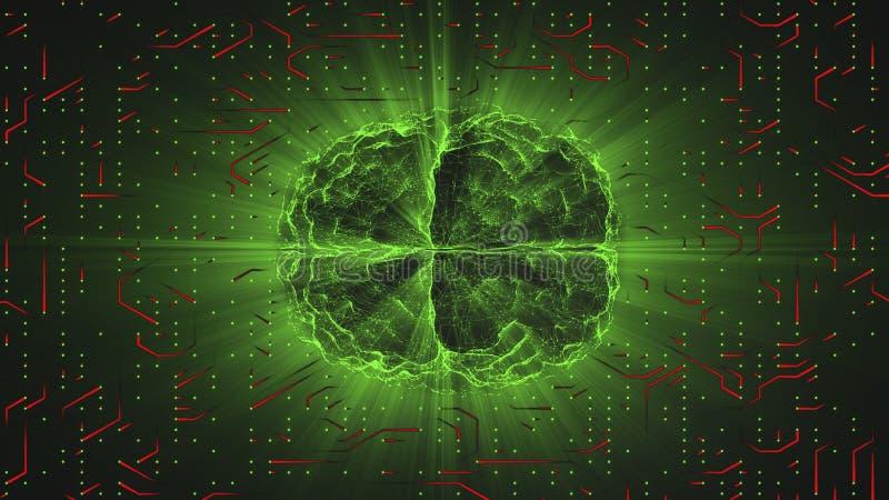 Cérebro de incandescência verde prendido na superfície neural vermelha ou em condutores eletrônicos ilustração do vetor