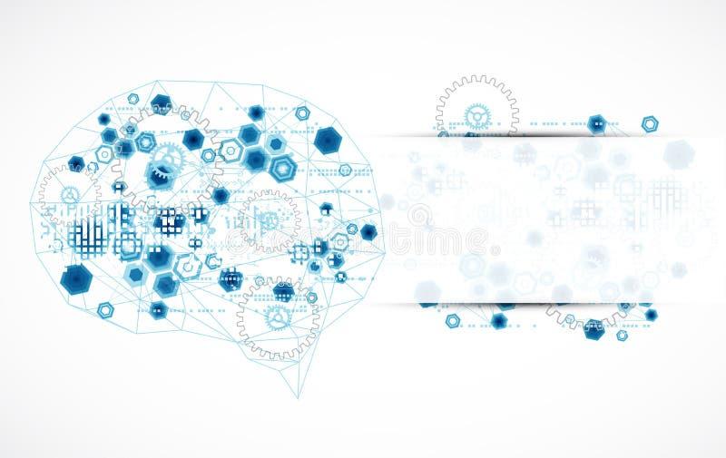 Cérebro digital abstrato, conceito da tecnologia ilustração stock