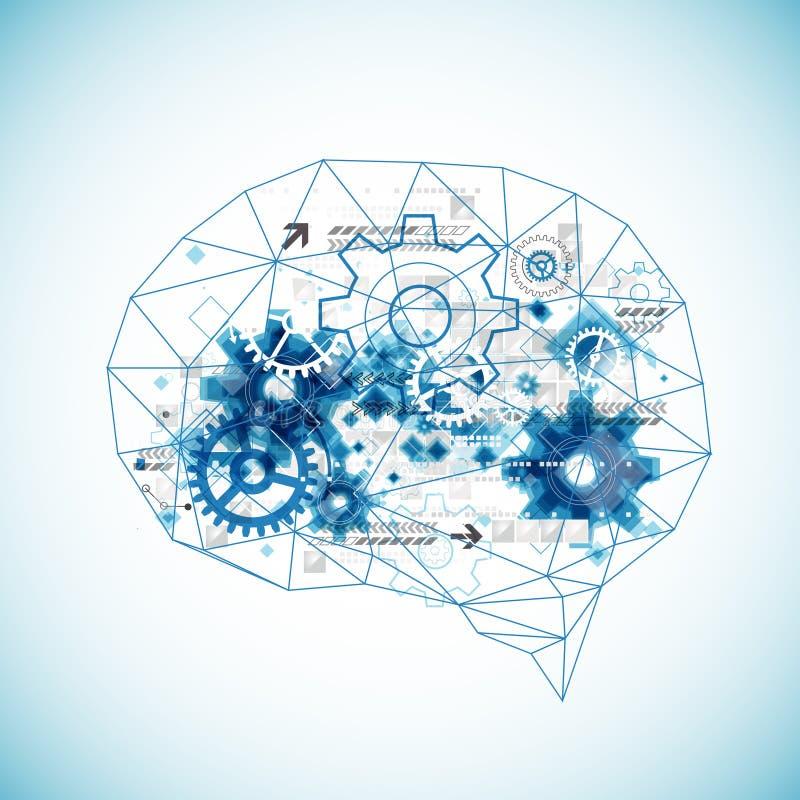 Cérebro digital abstrato, conceito da tecnologia ilustração do vetor