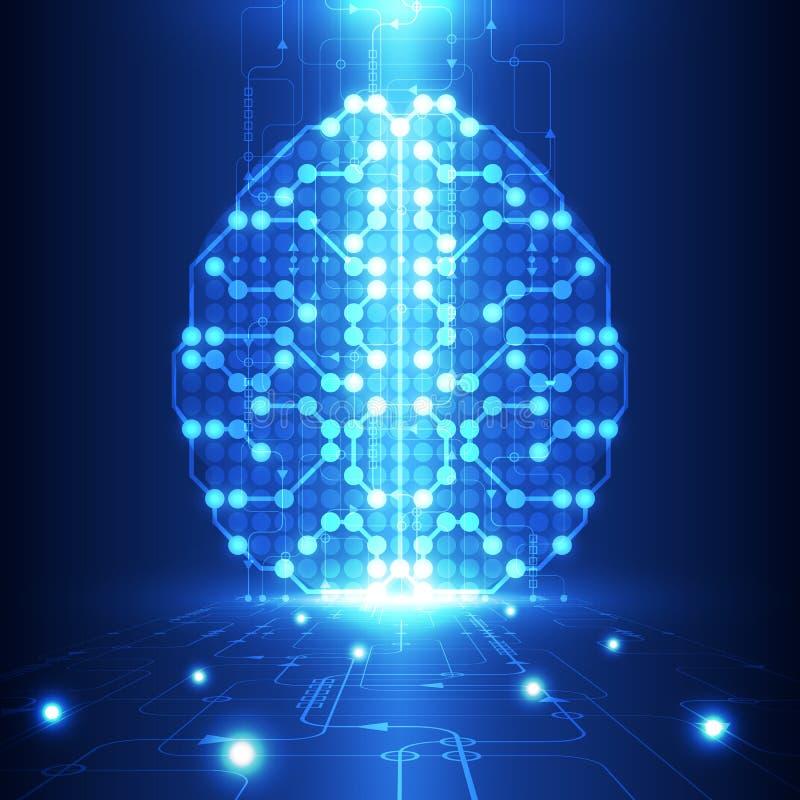 Cérebro digital abstrato do circuito bonde, conceito da tecnologia ilustração stock