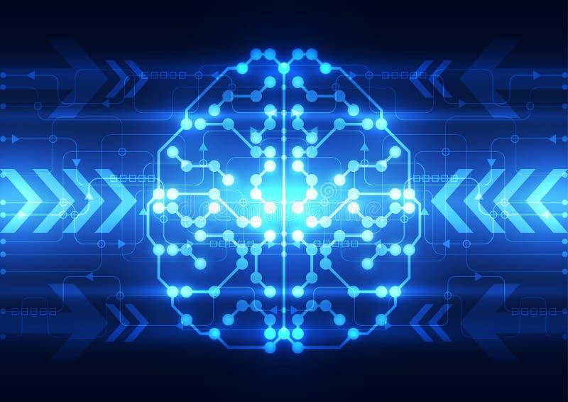 Cérebro digital abstrato do circuito bonde, conceito da tecnologia ilustração royalty free