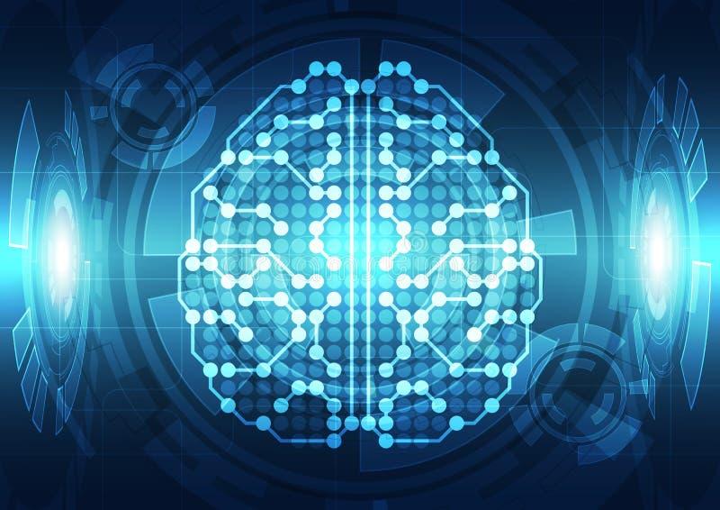 Cérebro digital abstrato do circuito bonde, conceito da tecnologia ilustração do vetor